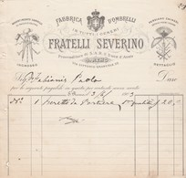Italie Facture Illustrée 1903 FRATELLI SEVERINO Ombrelli Cappelli Persiane Chinesi S REMO Ombrelles Chapeaux éventails - Italie