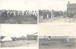 Cpa Afrique, Maroc - 8 Carte-photos Militaria – Soldats Français & Africains, Camp, Jeu De Ballon, Rugby, Tennis - Maroc