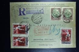 Letland / Latvia Registered Letter Leepaja Liepaia Libau To Amsterdam 1921 Also Stamps On Back - Lettland