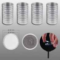 40 Prophila Coin Capsules 29 Mm E.g. For 5 DM-, 5 Mark DDR, 5 Franc - Supplies And Equipment