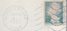 VARIETE Semeuse De Piel 1233 Sans Couleur Rose, Circulé Sur Carte 1961 Et Simple 1962 - Errors & Oddities