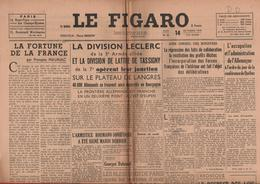 JOURNAL LE FIGARO - 14 SEPTEMBRE 1944 - LES DIVISIONS LECLERC ET DE LATTRE DE TASSIGNY OPÈRENT LEUR JONCTION - Newspapers