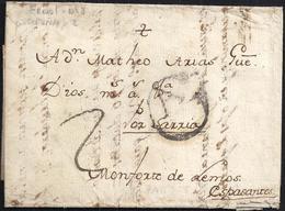 "1728ca. ESPAÑA. SPAIN. A ESPASANTE (CORUÑA). MARCA ""GA"" ORENSE Nº 1. BONITA Y MUY RARA. - ...-1850 Prefilatelia"