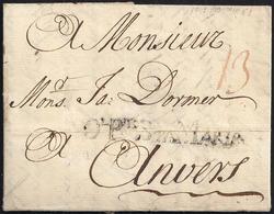 """1747. EL PUERTO DE SANTA MARÍA (CÁDIZ) A AMBERES (BÉLGICA). MARCA """"DL. PTO. STA. MARIA"""" Nº 1. BONITA Y MUY RARA. - ...-1850 Prefilatelia"""
