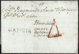 "1785. PONTEVEDRA A CABANELAS (ORENSE). MARCA ""GALICIA"" NEGRO Nº 4. BONITA Y RARÍSIMA. - España"