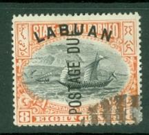North Borneo - Labuan: 1901   Postage Due - Malay Dhow 'Labuan' OVPT     SG D6b    8c  [Perf: 14½-15]    Used CTO - North Borneo (...-1963)