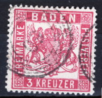 Germania Baden 1862 3k. Dent/perf 13 1/2 Unif. 22 O/Used VF/F - Baden