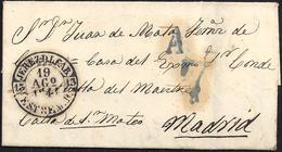 """1844. JEREZ DE LOS CABALLEROS A MADRID. BAEZA """"JEREZ D.L.CAB./ESTREM. B."""" EN NEGRO. MUY BONITA ESTAMPACIÓN. - España"""