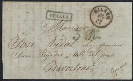 "1868. MILAN A BARCELONA. MARCA ""ITALIA"" EN AZUL Nº 10 DE LA JUNQUERA INDICANDO EL ORIGEN. MUY BONITA. - ...-1850 Prefilatelia"