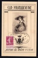 SEMEUSE N° 190 Avec Bande Pub Sur Carte Journée Du Timbre 1938 - 1906-38 Sower - Cameo