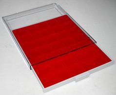Prophila Médaillier Gris 35 Compartiments Angulaires Pour Pièces Jusqu'à 36 Mm (10 Euro, 10 DM, 5 Rubel)), Insert Rou - Materiale