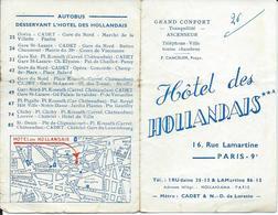 Carte Pub  Hôtel Des Hollandais à Paris Avec Plan Du Métro - Food