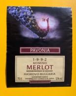 9748 - Momino Merlot 1992 Pavonia Bulgarie Paon - Etiquettes