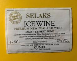 9754 - Ice Wine Selaks 1992 Sweet Dessert Wine Nouvelle Zélande Riesling X Gewurztraminer - Etiquettes