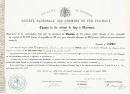 Action Souscrite En 1886 Par La Commune De BORLEZ Pour Le CHEMIN DE FER VICINAL DE HUY à WAREMME - Chemin De Fer & Tramway