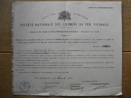 Action Souscrite En 1911 Par La Commune De VOROUX-LEZ-LIERS Pr Le CHEMIN DE FER VICINAL DE LIEGE-WIHOGNE-VOTTEM-TONGRES - Chemin De Fer & Tramway