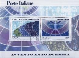 """PIA - ITALIA - 2000 : Avvento Dell' Anno 2000 """" Le Generazioni - Lo Spazio   - (SAS Bf 29) - Blocchi & Foglietti"""