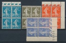 CK-236: FRANCE: Lot Avec Semeuses Camées **  En Blocs De 4 N°192-193-194-237 - 1906-38 Semeuse Camée