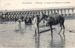 Belgique -  Nieuport-Bains - L'Estacade - Le Départ Des Pêcheurs De Crevettes - Nieuwpoort