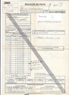 BULLETIN DE PAYE SNCF REGION DE TOURS - GARE DE CHATELLERAULT - 1974 - Transport