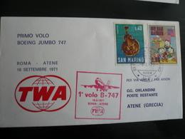 1° Volo TWA Jumbo B747 Roma-Atene Con San Marino  19.9.71   Con Arrivo  Sul Back - 6. 1946-.. Repubblica