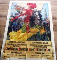 SUPERBE AFFICHE ** GRAND CORTEGE HISTORIQUE BRUXELLES 1930 ** 1.60 X 1.20m !! TRES BELLE AFFICHE - Affiches