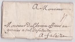 PLI LETTRE DE PARIS 1717 POUR MONSIEUR DUCHEMIN OFFICIER AU GRENIER A SEL DE FALAISE CALVADOS - Marcophilie (Lettres)