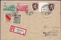 1946 Einschreibebrief, Recommandé: Hamburg-Weingarten, Mischfranktur 2Scans - Zona Francese