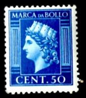 MARCA TASSA FISSA  50 CENT. - EMISSIONE 1945 SENZA FASCI - UNIFICATO 143 - USATA - 5. 1944-46 Luogotenenza & Umberto II