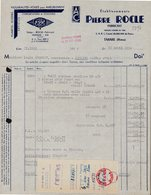FACTURE SOCIETE PIERRE ROCLE - TARARE (RHONE) - VOILES POUR AMEUBLEMENTS - 22 AVRIL 1952 - France