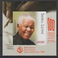 IMPERF ND Sierra Leone 2018 Mi. ? S/S Joint Issue PAN African Postal Union Nelson Mandela Madiba 100 Years - Sierra Leone (1961-...)