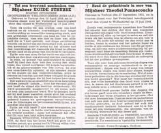Torhout: 1944, Egide Strubbe + Theofiel Pannecoucke =in Duitsland Terechtgestelden ( 2 Scans) - Devotion Images