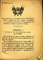 240 REGIO DECRETO 1889 ASSEGNAZIONE 3 CONSIGLIERIPROVINCIALI A  FABRIANO E 5 A QUELLO DI OSIMOOSIMO , - Decreti & Leggi