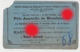 Grand Théâtre Verviers 1923 Fédération Des Prisonniers De Guerre - Tickets D'entrée