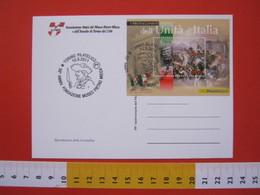 A.06 ITALIA ANNULLO - 2011 TORINO 50 ANNI MUSEO PIETRO MICCA ASSEDIO 1706 STORIA FOGLIETTO GARIBALDI CARD MANIFESTO - Storia