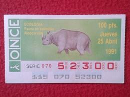 SPAIN DÉCIMO CUPÓN DE ONCE LOTERÍA LOTTERY LOTERIE RINOCERONTE RHINO RHINOCEROS RHINOS RHINOCEROSES FAUNA WILDLIFE 1991 - Billetes De Lotería