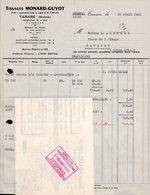 FACTURE SOCIETE MONARD-GUYOT + MANDAT - TARARE (RHONE) - TISSAGES - 28 AVRIL 1961 - France