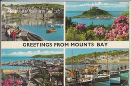 GREETINGS FROM MOUNTS BAY  MULTI VIEW  Mousehole, Panzance, St. Michael's Mount, Newlyn - St Michael's Mount