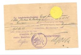 GUERRE 14/18 - Papier De Dédomagement  D'un Soldat Allemand D'Eupen En 1918 Monschau / Montjoie Et Eynatten  (nod 1) - 1914-18