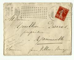 Oblit. CHAMBON (du 28.12.1912)  LYON (rare) - Storia Postale