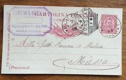 INTERO POSTALE 10 C. (93) CON ANNULLO OTTAGONALE A BARRE  MASSA + SERAVEZZA LUCCA + COMMERCIALE SANTINI & BUSELLI 2/3/94 - 1900-44 Vittorio Emanuele III