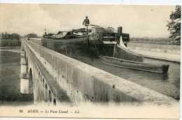 Dpt 47 Agen Le Pont Canal Peniche Marie-Louise No55 Ed LL Animee 1912 Neuve TBE - Francia