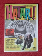 SPAIN FOLLETO DE CINE PROGRAMA MANO PROGRAM FILM HATARI JOHN WAYNE RINOCERONTE RHINO RHINOCEROS RHINOS RHINOCEROSES VER - Otras Colecciones