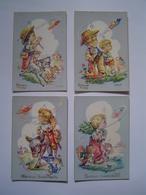 4 X CARTE POSTALE Ancienne : BONNE FETE / ANNIVERSAIRE / ENFANT / SOUCOUPE VOLANTE / Illustration VERNET - Autres Illustrateurs