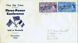 1953 Three Powers Talks Sc 164-5  On Single FDC - Bermudes