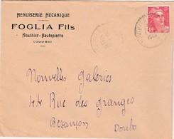 Enveloppe Commerciale 1948 / FOGLIA Fils / Menuiserie Mécanique / 25 Mouthier Hautepierre / Doubs - Cartes