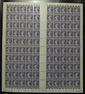 FEUILLE COMPLETE NEUF ** De 100 TIMBRES SEMEUSE N° 236 40c VIOLET COIN DATÉ 26.8.27 (1927) - Feuilles Complètes
