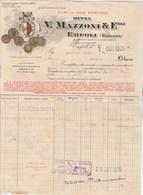 Italie Facture  Illustrée 1/10/1925 MAZZONI Vini Ed Olii Toscani EMPOLI - Vin Chianti - Italie