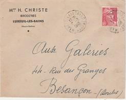 Enveloppe Commerciale 1948 / Mme H. CHRISTIE / Broderies / 70 Luxeuil Les Bains - Cartes