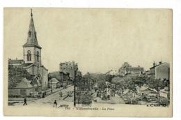 Villeurbanne - La Place (Eglise, Marché, Animation, Kiosque à Journaux) Pas Circulé, Carte Recollée - Villeurbanne
